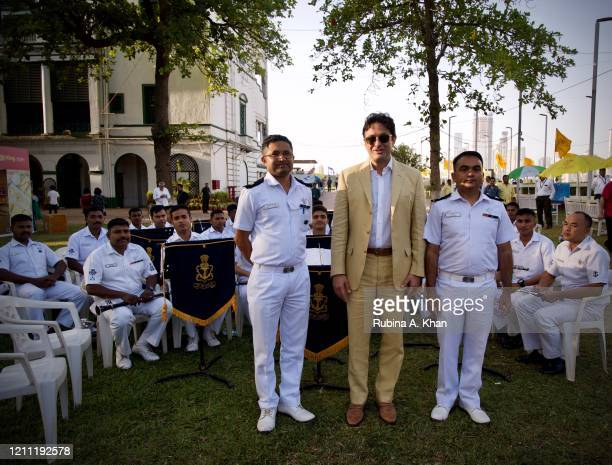 Industrialist Ness Wadia with the naval band members at the CN Wadia Gold Cup 2020 Race Day at the Royal Western India Turf Club on March 08, 2020 in...