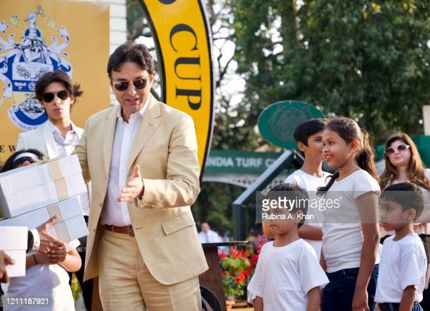 Industrialist Ness Wadia with young survivors of cardiac ailments treated by the Bai Jerbai Wadia Hospital for Children, at the CN Wadia Gold Cup...