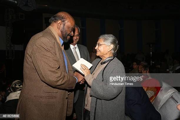 Industrialist Shiv Nadar and former chief minister of Delhi Sheila Dikshit during Swami Haridas Tansen Sangeet Nritya Mahotsavon at FICCI Auditorium...