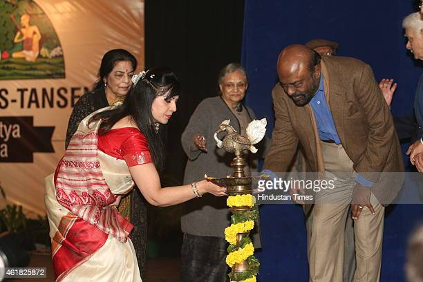 Industrialist Shiv Nadar lighting the inaugurational lamp duirng Swami Haridas Tansen Sangeet Nritya Mahotsavon at FICCI Auditorium on January 9 2015...