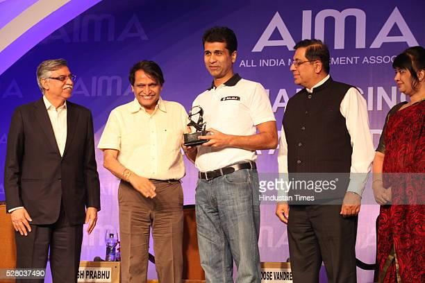 Industrialist Sunil Kant Munjal , Union Railway Minister Suresh Prabhu, Firdose Vandrevala with Rekha Sethi during the All India Management...