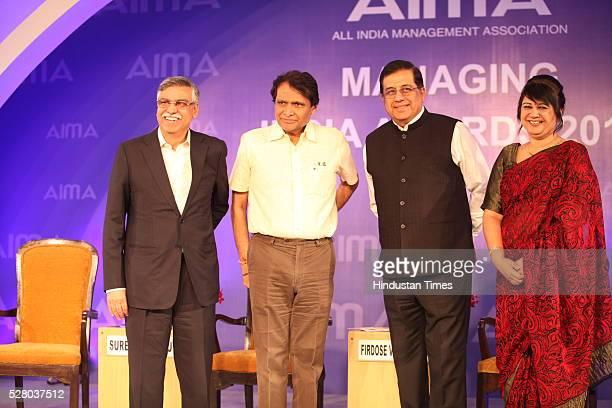 Industrialist Sunil Kant Munjal, Union Railway Minister Suresh Prabhu, Firdose Vandrevala with Rekha Sethi during the All India Management...