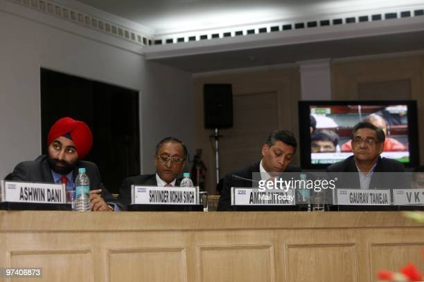Industrialists watch the live union budget session organised by CII in New Delhi on February 26 2010