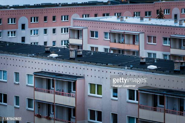 Industrialized apartment blocks are pictured on December 08, 2019 in Stendal, Germany.