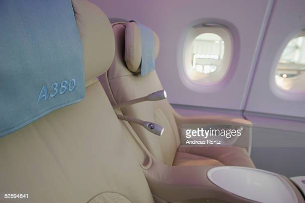 Industrie part of the European Aeronautic Defence and Space Company displays the business class interior on the new Aircraft A380 at the Aircraft...