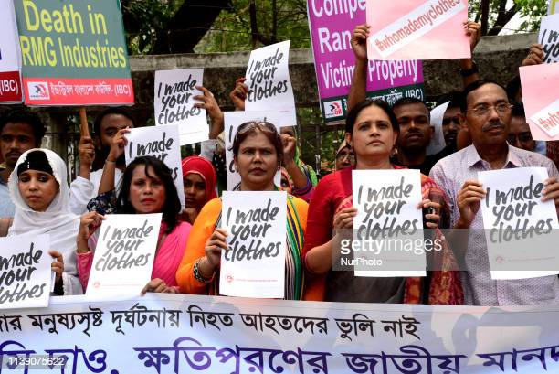 Industry All Bangladesh Council activists protest to demanding safe workplace for garments workers to mark the sixth anniversary of the of the Rana...