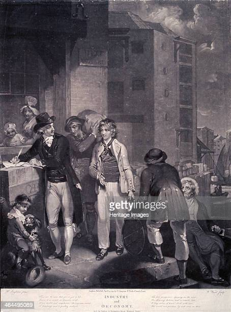 'Industry and Economy' 1794 a successful merchant and his family pictured in a busy scene at Bell Wharf London Moral verses are contained in the...