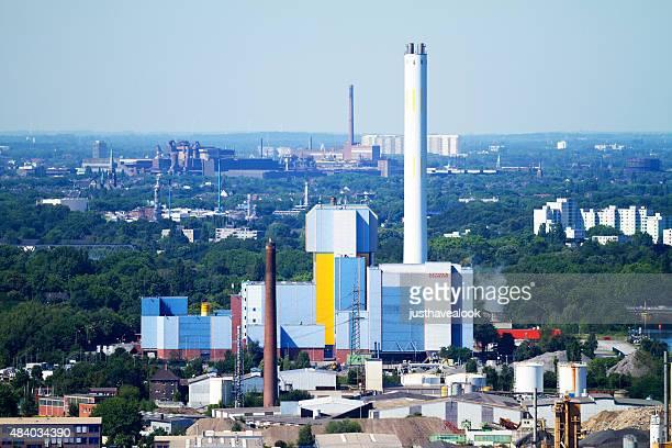 industrie und power station in oberhausen und duisburg - oberhausen stock-fotos und bilder