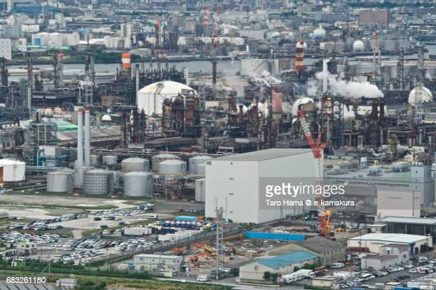 industry area in kawasaki city daytime aerial view from airplane - kanagawa prefecture stock pictures, royalty-free photos & images