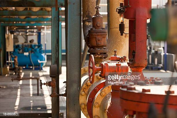 industry corridor - air valve stock photos and pictures
