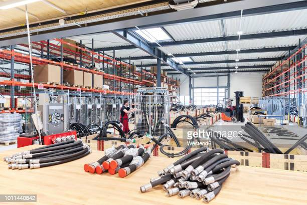 industry hall, worker and forklift - upper austria stock pictures, royalty-free photos & images