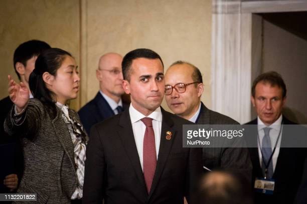 Industry Minister and deputy PM Luigi Di Maio arrives for a signing ceremony at Villa Madama in Rome on March 23 2019 as part of Xi Jinping's twoday...