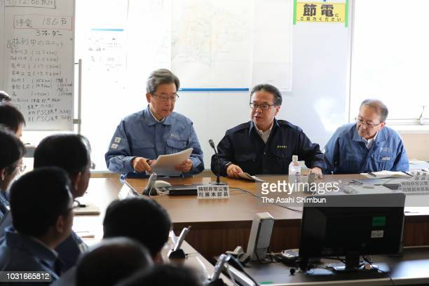 Industry Minister Hiroshige Seko attends a meeting at the Hokkaido Electric Power Co headquarters on September 11 2018 in Sapporo Hokkaido Japan A...