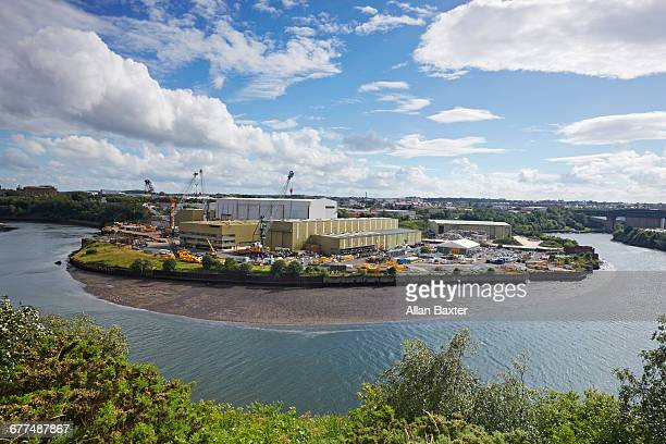 industry on the river wear in sunderland - sunderland stock pictures, royalty-free photos & images
