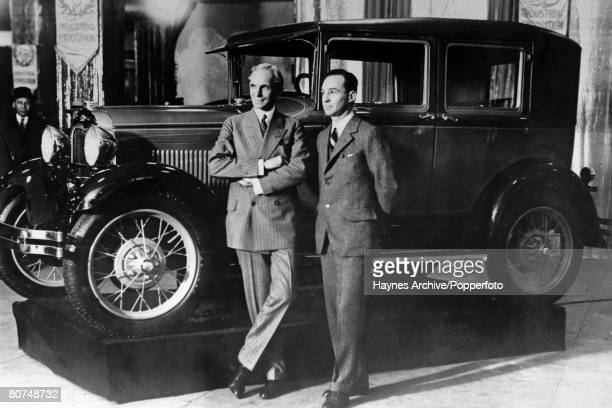 Industry, Personalities, pic: 1928, Edsel Ford, with his father Henry Ford at Ford Industrial Exposition in Madison Square Garden in New York, Edsel...