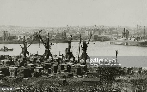 circa 1910 South Wales A general view of Barry Docks