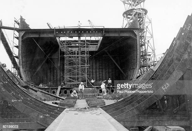 circa 1957 Workers busy in the shipbuilding yards part of Japan's post war recovery