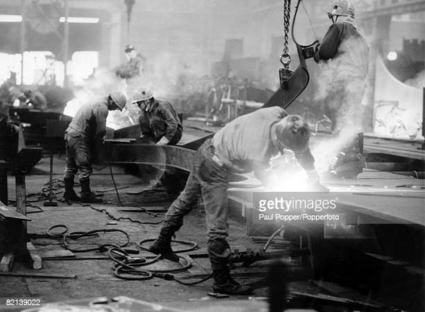Industry Shipbuilding Yokohama Japan pic circa 1950's Workers busy in the shipbuilding yards part of Japan's post war recovery