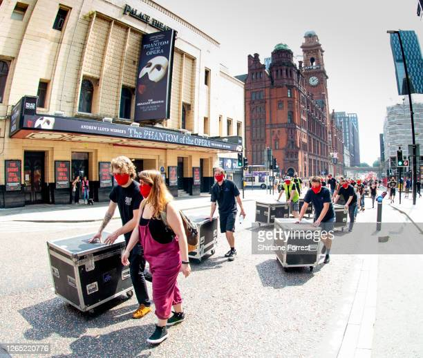 Industry workers from the music and event sectors unite and march socially distanced through Manchester, from Manchester Academy to St Peter's Square...