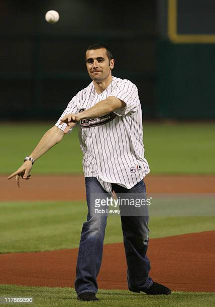 Indy 500 Champion Dario Franchitti throws out the first pitch prior to the Astros and Reds game Wednesday night at Minute Maid Park in Houston Texas