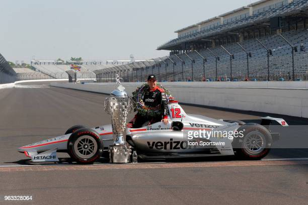 Indy 500 Champion Will Power of Team Penske in his Tag Heuer hat during the Indianapolis 500 Winners photo shoot on May 28 at the Indianapolis Motor...