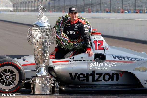Indy 500 Champion Will Power of Team Penske in his Team Penske hat during the Indianapolis 500 Winners photo shoot on May 28 at the Indianapolis...