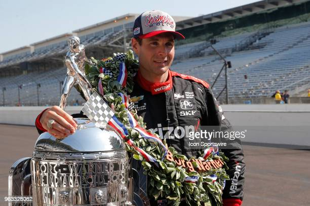 Indy 500 Champion Will Power of Team Penske with the The BorgWarner Trophy during the Indianapolis 500 Winners photo shoot on May 28 at the...
