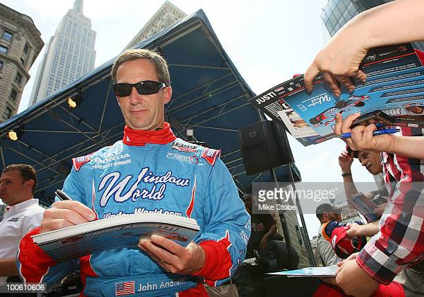 Indy 500 driver John Andretti signs autographs at Macy's and IZOD's celebration of the Indianapolis Motor Speedway and the Indy 500 at Macy's Herald...