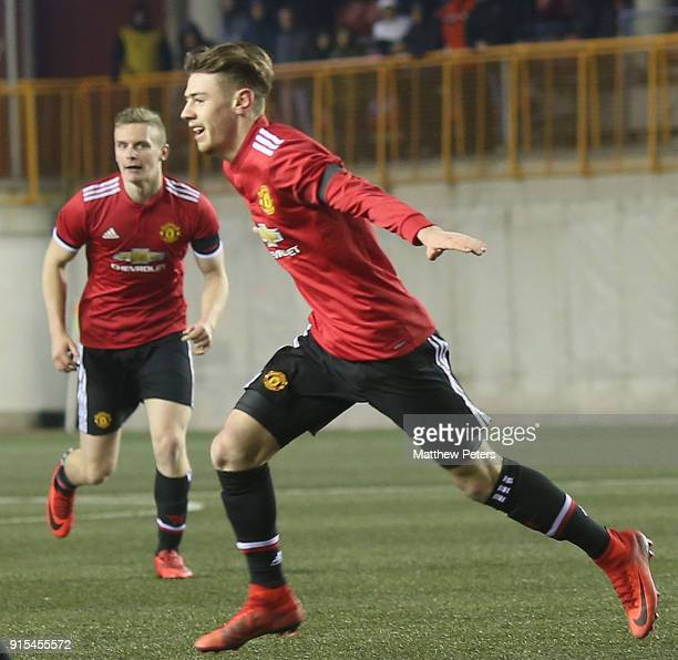 Indy Boonen of Manchester United U19s celebrates scoring their first goal during the UEFA Youth League match between FK Brodarac U19s and Manchester...