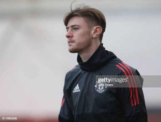 Indy Boonen of Manchester United U19s in action during a training session at Vozdovac Stadium on February 6 2018 in Belgrade Serbia