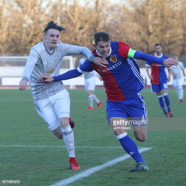 Indy Boonen of Manchester United U19s in action during the UEFA Youth League match between FC Basel U19s and Manchester United U19s at Leichtathletik...