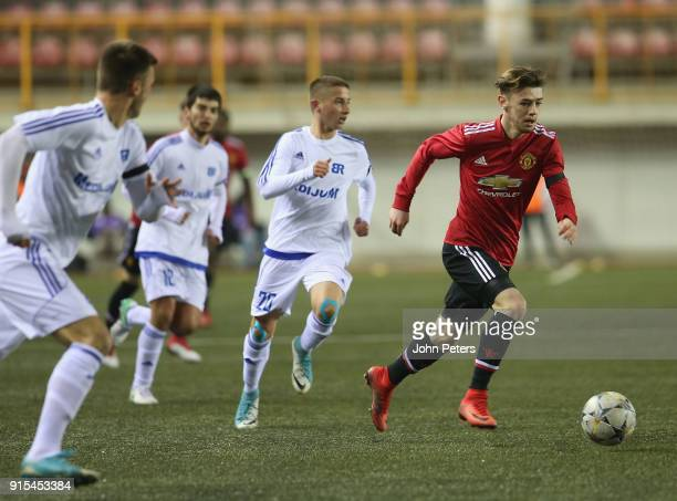 Indy Boonen of Manchester United U19s in action during the UEFA Youth League match between FK Brodarac U19s and Manchester United U19s at Vozdovac...