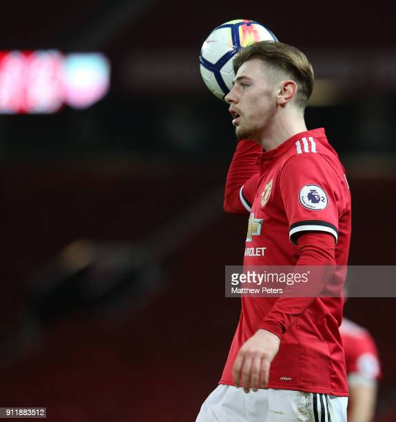Indy Boonen of Manchester United U23s in action during the Premier League 2 match between Manchester United U23s and Tottenham Hotspur U23s at Old...