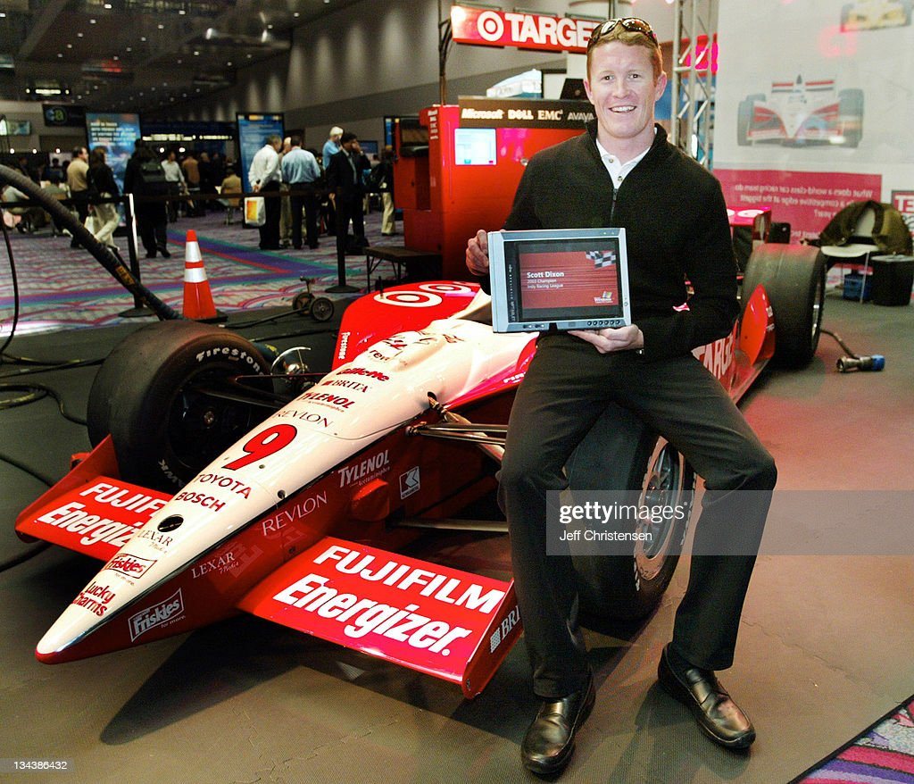 COMDEX 2003 - Indy Car Driver Scott Dixon with the Tablet PC
