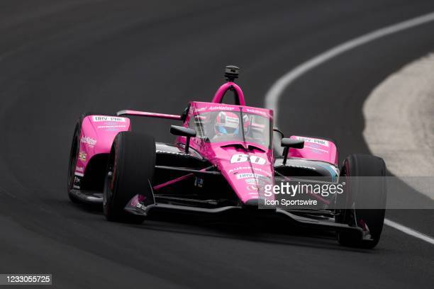 Indy Car series driver Jack Harvey drives through turn one during practice for qualifications for the 105th running of the Indianapolis 500 on May...