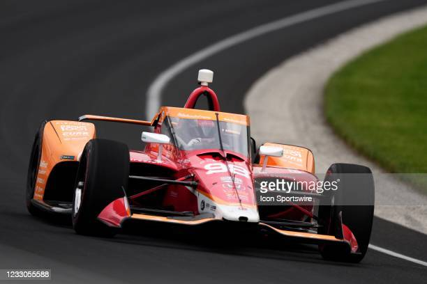 Indy Car series driver Marco Andretti drives through turn one during practice for qualifications for the 105th running of the Indianapolis 500 on May...