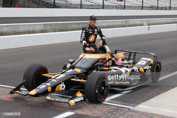 Indy Car series driver Rinus VeeKay poses for a photo after qualifying for the 105th running of the Indianapolis 500 on May 22, 2021 at the...