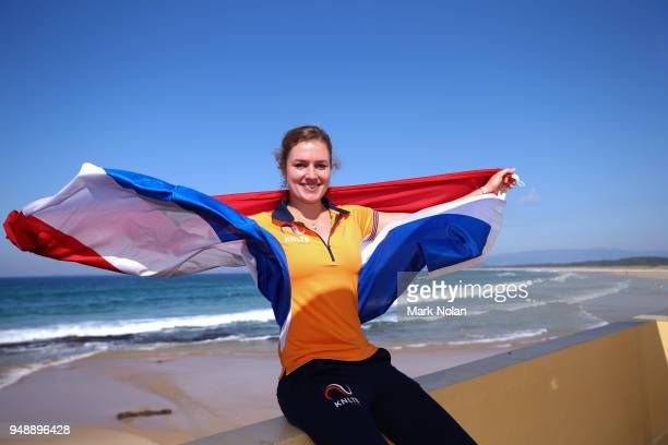 Indy De Vroome of the Netherlands poses for a photo during the official draw ahead of the World Group PlayOff Fed Cup tie between Australia and the...