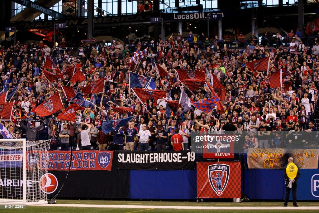 Indy Eleven Fans show their spirit during the USL Soccer match between FC Cincinnati an Indy Eleven on March 31, 2018, at Lucas Oil Stadium in Indianapolis IN. FC Cincinnati defeated the Indy Eleven 1-0.