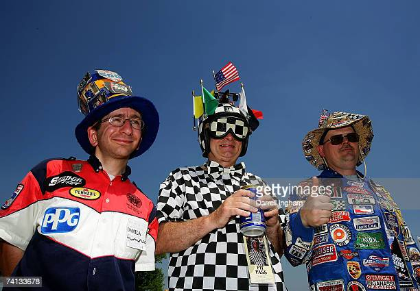 Indy race fans Clayton Thomas, John Fort and William Pickering from Indianapolis during qualifying for the IRL Indycar Series 91st running of the...