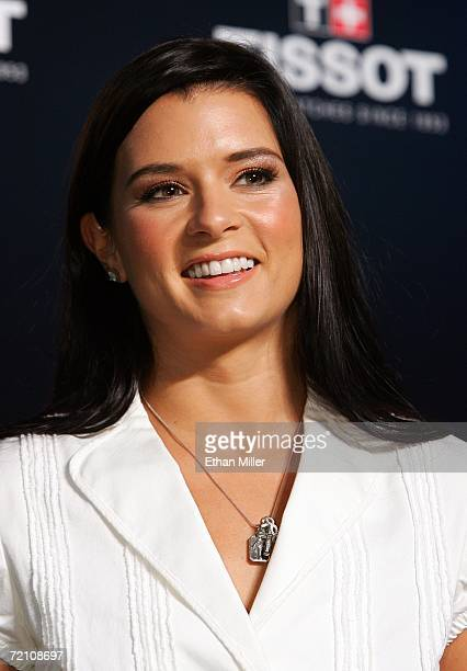 Indy Racing League driver Danica Patrick poses during a news conference at the Fashion Show Mall October 6 2006 in Las Vegas Nevada Patrick was on...