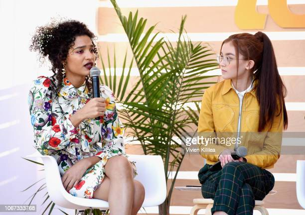 Indya Moore and Anna Cathcart speak onstage during The Rise of Women of Color in Hollywood panel at The Teen Vogue Summit 2018 Serena Williams and...