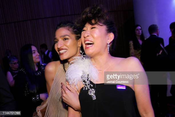 Indya Moore and Sandra Oh attend the TIME 100 Gala 2019 Cocktails at Jazz at Lincoln Center on April 23 2019 in New York City