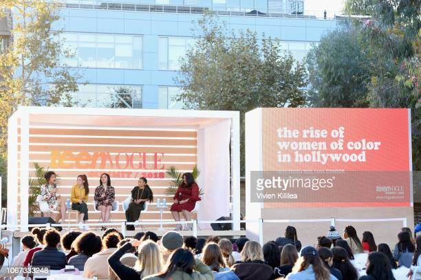 Indya Moore Anna Cathcart Lana Condor Storm Reid and Samhita Mukhopadhyay speak onstage during The Rise of Women of Color in Hollywood panel at The...