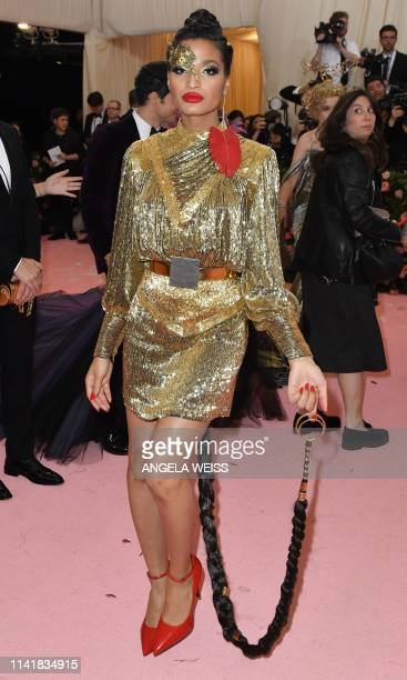 Indya Moore arrives for the 2019 Met Gala at the Metropolitan Museum of Art on May 6 in New York. - The Gala raises money for the Metropolitan Museum...