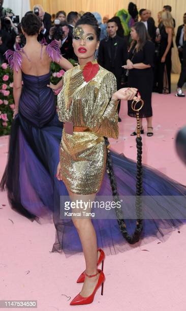 Indya Moore arrives for the 2019 Met Gala celebrating Camp: Notes on Fashion at The Metropolitan Museum of Art on May 06, 2019 in New York City.