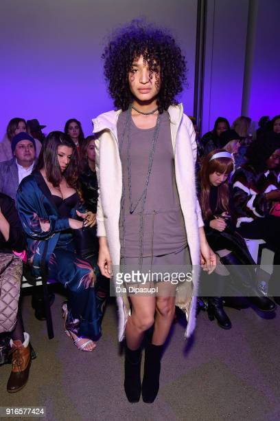 Indya Moore attends the Dan Liu fashion show during New York Fashion Week The Shows at Gallery II at Spring Studios on February 10 2018 in New York...
