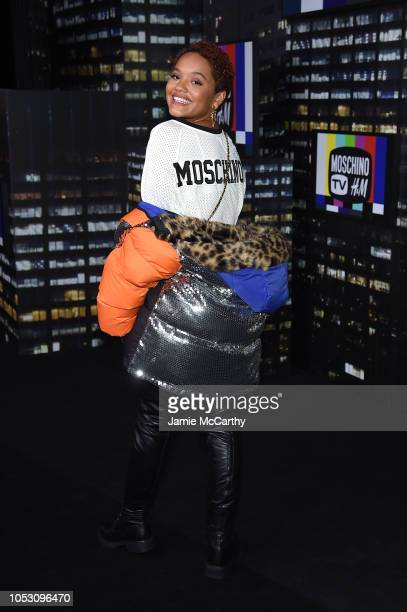 Indya Moore attends the Moschino x HM runway at Pier 36 on October 24 2018 in New York City