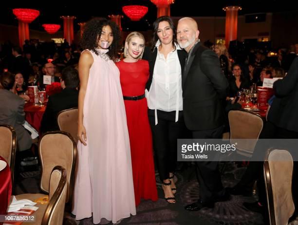 Indya Moore Emma Roberts Allison Adler and Ryan Murphy attend the Trevor Project's TrevorLIVE LA 2018 at The Beverly Hilton Hotel on December 3 2018...