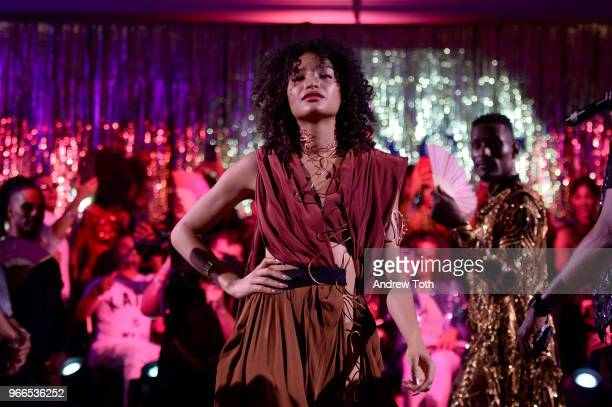 Indya Moore performs during the FX 'Pose' Ball in Harlem on June 2 2018 in New York City
